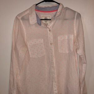Button down shirt, white and coral!!